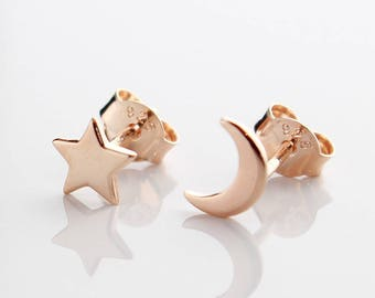 Rose Gold Star & Moon Earrings, Star Earrings, Moon Earrings, Rose Gold Stud Earrings, Dainty Earrings, Cute Earrings, Fashion Studs