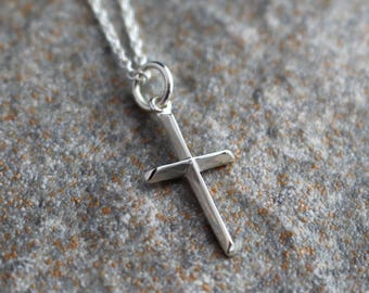 Silver Cross Pendant with Raised Ridges, Sterling Silver Cross Necklace, Silver Cross Pendant, Dainty Cross Necklace, Religious Necklace