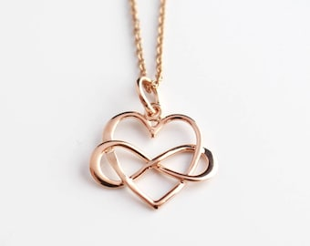 Rose Gold Heart & Infinity Necklace, Rose Gold Heart Pendant, Rose Gold Infinity Necklace, Infinity Charm, Rose Gold Jewellery, Yoga Pendant