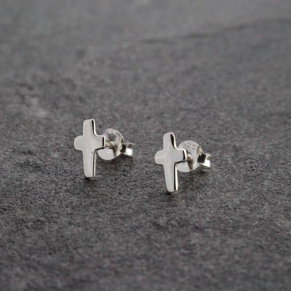 82ec1ee01 Sterling Silver Cross Earrings Cross Studs Religious | Etsy