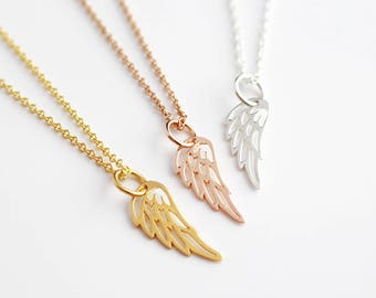 Gold angel necklace etsy angel feather necklace feather pendant angel wing pendant silver gold rose aloadofball