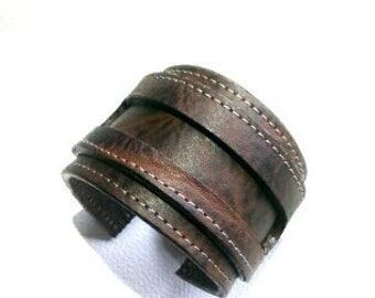 Bracelet genuine leather, leather wristband, cuff leather leather armlet, size 7 1/2 inches 18cm.