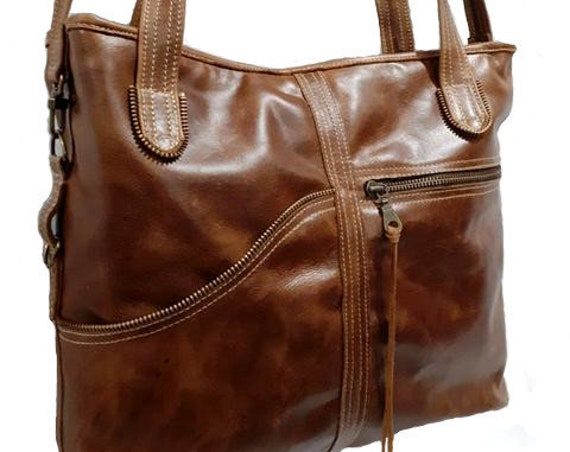 women's leather bag, style, leather bag, multi-pockets, practical, tote bag