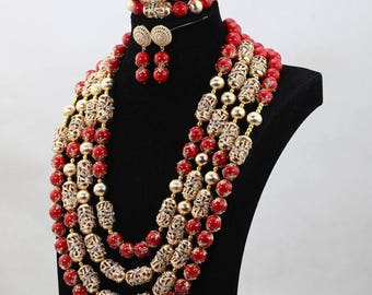Rosy Red Coral bead set