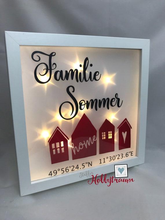Beleuchteter Rahmen Geschenk Zum Einzug Leuchtrahmen Geschenk Mit Koordinaten Hochzeitsgeschenk Geschenk Für Freunde