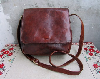 6c187c5e52255 Vintage braun Leder Schulter oder Crossbody Handtasche PICARD