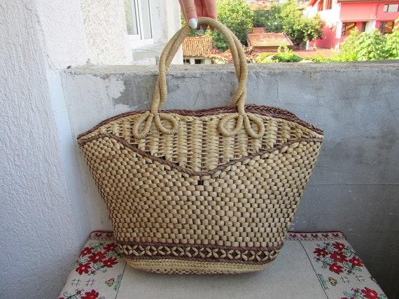Vintage Wicker Handbag, Handmade Straw Bag, Straw