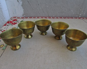 Vintage Etched Brass Goblets, Set of 5 Small Brass Goblets, Brass Shot Goblets, Vintage Solid Brass Barware,  Collectable Brass