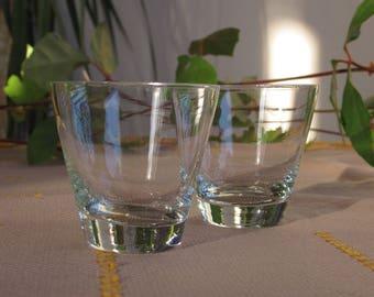 Vintage Shot Glasses, Liqueur Glasses, Set of 2 Vintage Shot Glasses 1960s, Clear Glass Shot Glasses, Set of 2 Vodka Glasses, Retro Bar