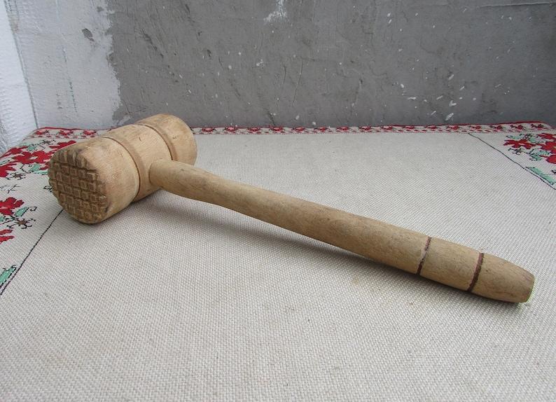Vintage Wooden Meat Hammer Vintage Meat Mallet Tenderizer 2 Large Wooden Meat Mallet Wooden Steak Hammer Kitchen Decor