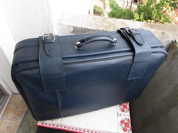 Vintage Leather Suitcase 1980s, Large Blue Faux Le