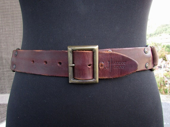Vintage Men's Brown Belt, Genuine Leather Belt Wit