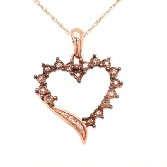 Tilda - Rose Gold and Diamond Heart Pendant & Neck