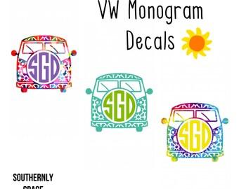 Volkswagon Monogram | VW Monogram | Hippie Monogram