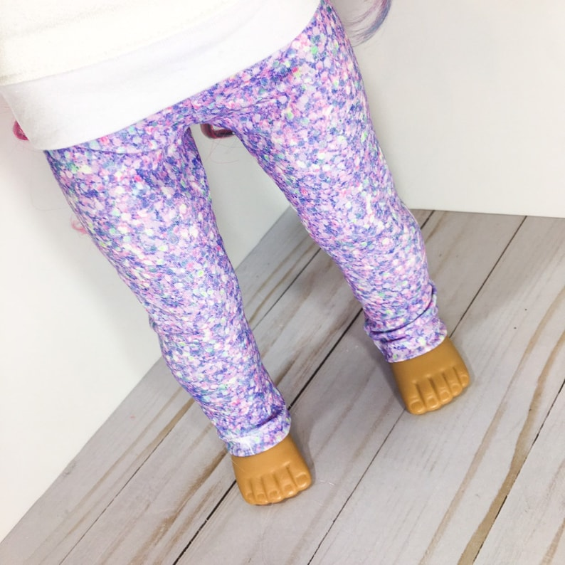 """Sparkly Purple Leggings fits American Girl dolls 18/"""" doll clothes"""