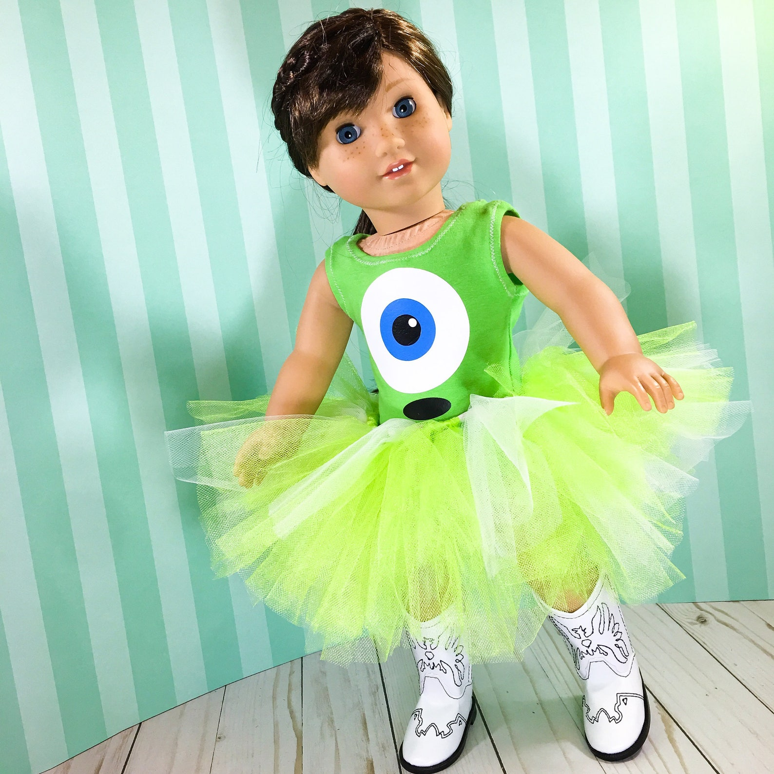 18 inch doll clothes - green monster ballet outfit fits doll like american girl, one generation, and my life