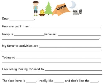 Camp fill in the blank notepad campfire and tent