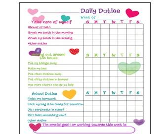 Printable To Do List, Chore Chart Organizer for kids DIGITAL