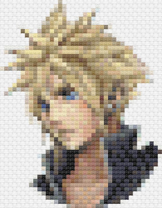 Cloud Strife Advent Children Dissidia Final Fantasy Cross Stitch Pattern Pdf Instant Download