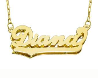 Name Necklace Personalized 3D Style-14K Gold Overlay .925K Sterling Silver-2 Tone.