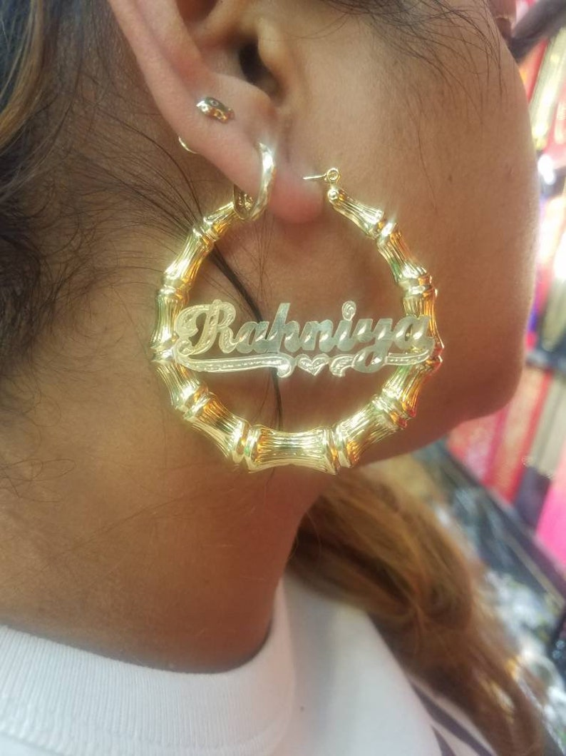 Customized Name Jewelry Gift for Her Kids Name Jewelry Personalized Name Earrings Bamboo Hoops Name Earrings-Hoops with Name