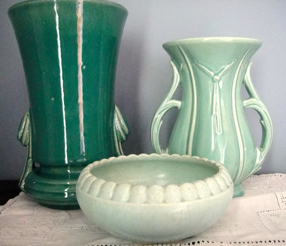 Three Green Pottery Pieces Including Mccoy Vase