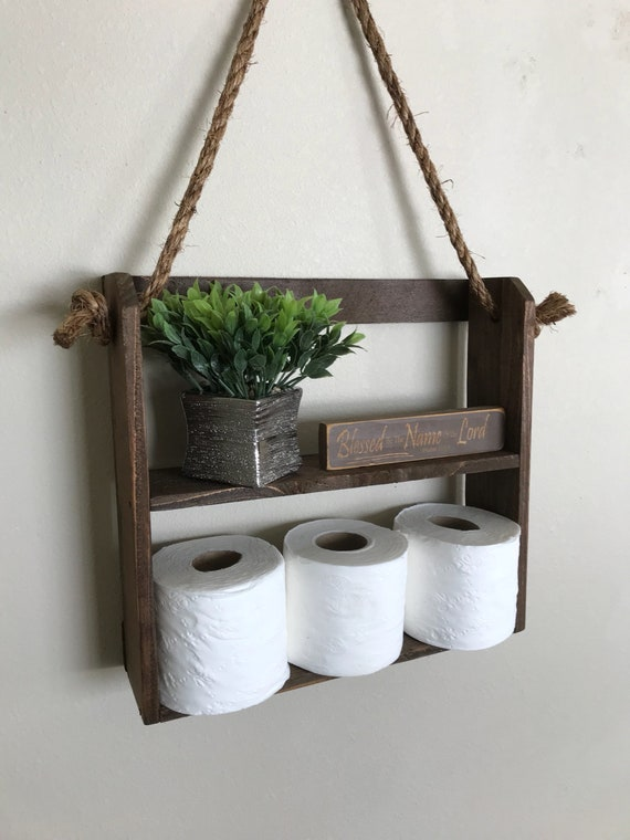 Genial Hanging Rope Shelf Rustic Ladder Style Shelf Bathroom | Etsy