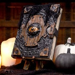 Book of the Damned • Halloween Decor • Spell Book & Wood Stand • Witch Decoration • Handmade Black Spellbook • Spooky Seasonal Prop Art