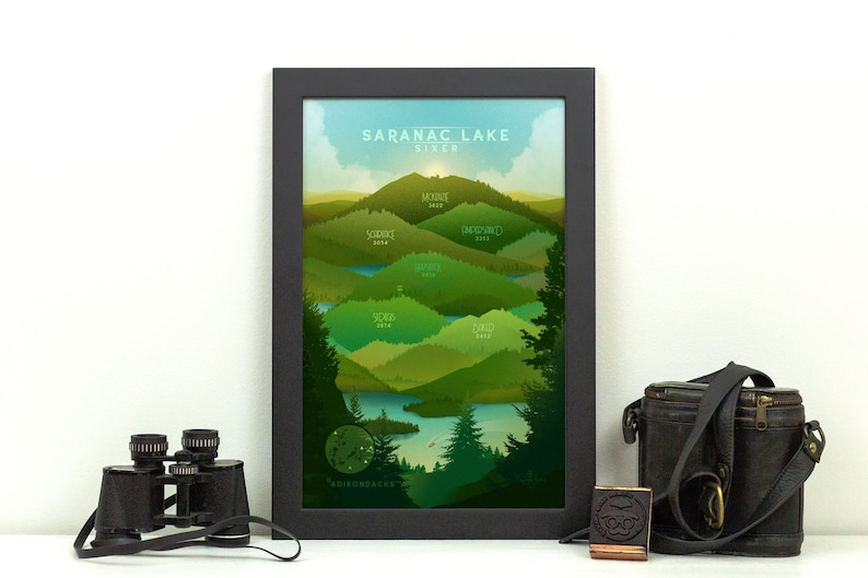Saranac Lake 6er Print  Adirondacks NY Poster   ADK image 0