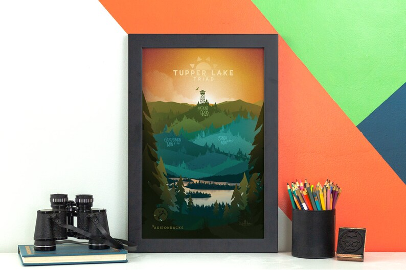 Tupper Lake Triad Print  Adirondacks NY Poster   ADK image 0