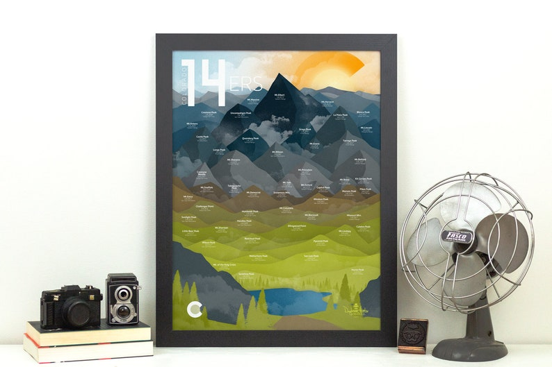 Colorado Fourteeners  14ers Print  Rocky Mountains CO  18x24 inches