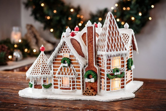 Custom Faux Gingerbread House Lighted Holiday Decor Unique Etsy