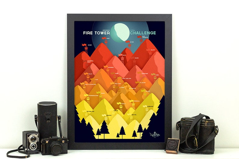 Adirondack Fire Tower Challenge Print  ADK / Catskills NY  18x24 inches