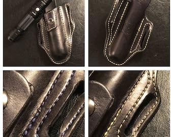 Leather flashlight holster