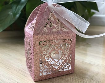 100pcs Glitter Pink gift boxes,laser cut Wedding Favor boxes with ribbon,Party Table Decortation,Custom Gift Packaging Boxes 5cm x 5cmx8.5cm