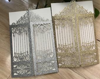 1e55a6310342c Glitter Paper Silver 50pcs Gorgeous Laser Cut Wedding Invitations,Gate  Wedding invitation,Laser Cut Invitation Cards,Greeting Cards,Invite