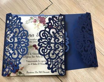Laser cut invitation etsy more colors 50pcs navy blue laser cut wedding invitations filmwisefo