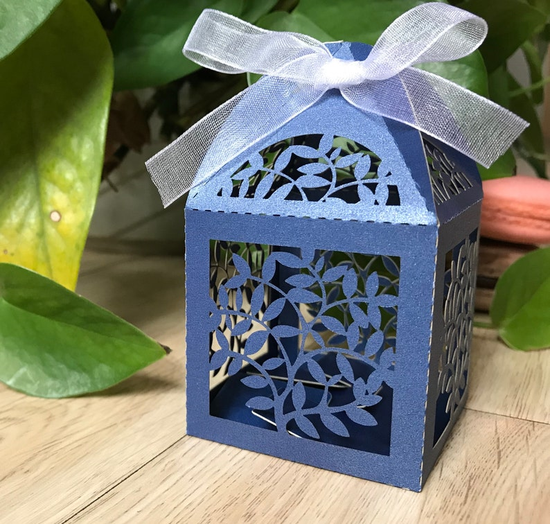 100pcs Pearl Navy Blue Wedding Gift Packaging Box with ribbon,Laser Cut Wedding Gift Boxes,Wedding Favors,6*6*9.5cm Gift Boxes,Candy Boxes