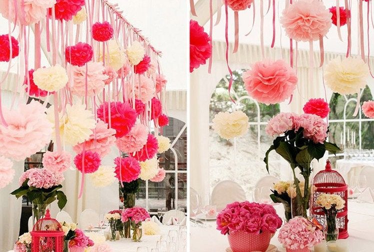 10\'\' 10pcs Artificial paper flower ball for wedding party ...