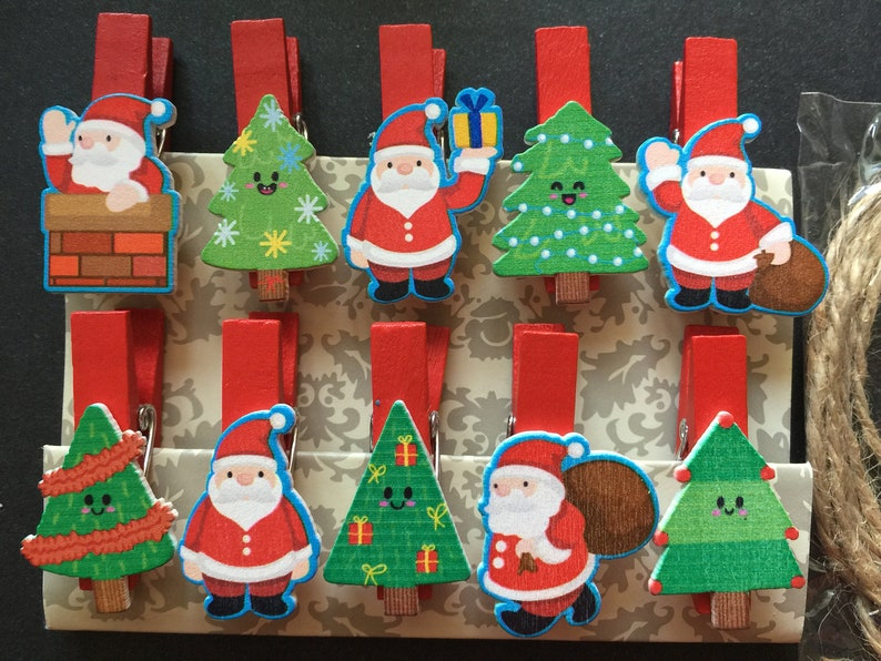 Christmas Design Wooden Paper Clips,Wood Clip,Photo Paper Pegs,Clothespin,Office Supplies for Christmas Party Favor Decorations Ornaments