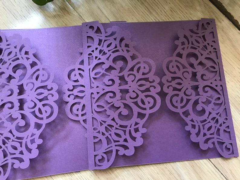 50pcs Purple Laser Cut Wedding Invitations,wedding cards,Laser Cut Wedding Invite,Luxury Wedding invitations,Bridal shower invitation Cards