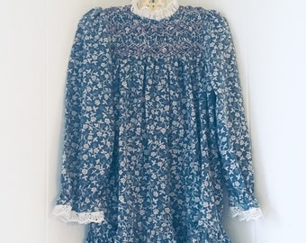 d1d0e496d2ea Polly Flinders 6 6x dress floral long sleeve smocking lace blue pink white  vintage vtg prairie country puff