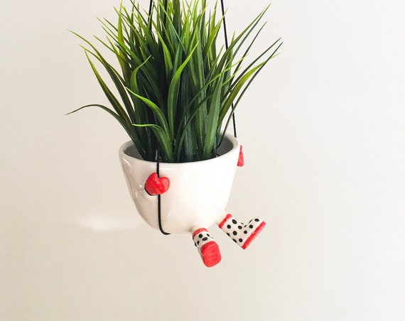 Cute Hanging Planter, Dot, Ceramic Handmade Planter