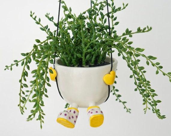 Ceramic Hanging Planter - LemonDrop
