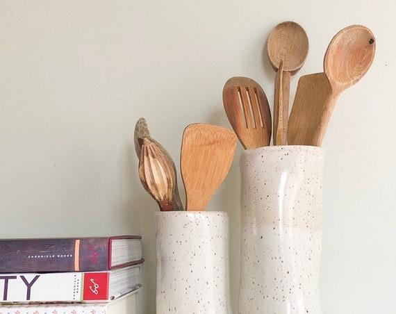 Foodie Gift, Ceramic Utensil Holder, wife Christmas gift