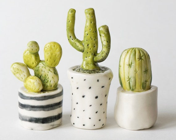 Set of 3 Ceramic Tiny Cactus Figurines