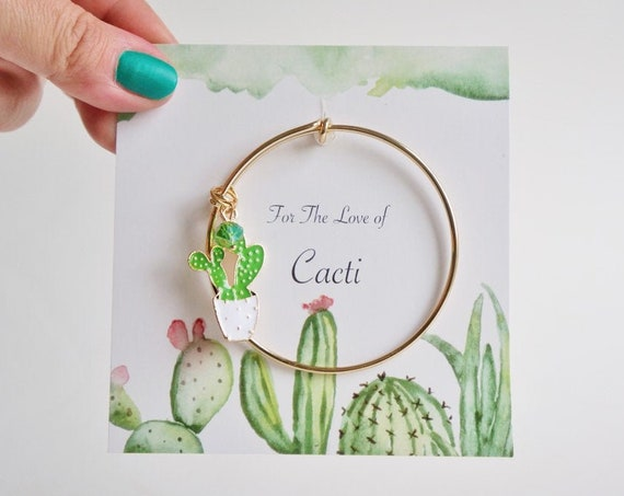 Cactus Lover Bangle Charm Bracelet