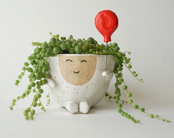 Ceramic Planter Pot Maya with Red Balloon