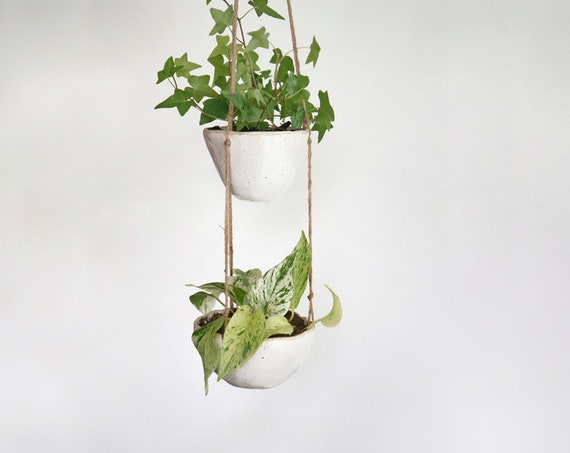 Two Tier Ceramic Hanging Planter with Drainage