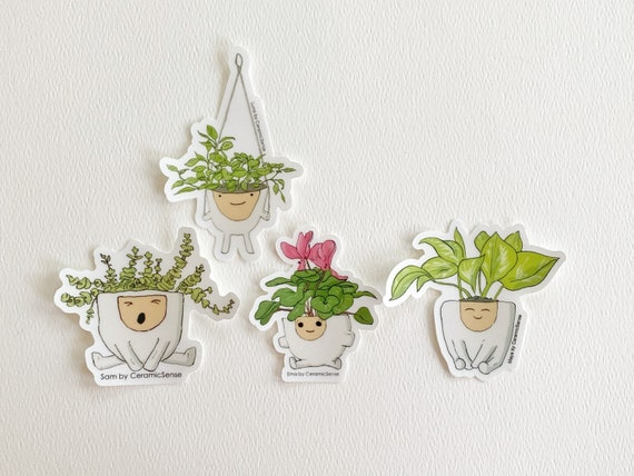 Set of 4 Clear Vinyl Plant Stickers